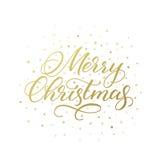 Καλλιγραφική ευχετήρια κάρτα Χαρούμενα Χριστούγεννας Στοκ Φωτογραφία