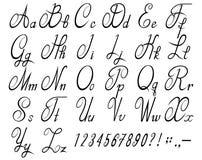 Καλλιγραφική πηγή με τους αριθμούς Καλλιγραφικό αλφάβητο απεικόνιση αποθεμάτων