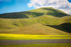 Καλλιεργήσιμο έδαφος στο πιάνο Grande, Castelluccio, Ουμβρία, Ιταλία στοκ εικόνες