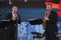 Καλλιτέχνες απόδοσης, ορχήστρα, σύνολο ορείχαλκου οργάνων αέρα kronwerk Στοκ φωτογραφία με δικαίωμα ελεύθερης χρήσης