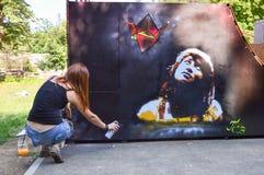 Καλλιτέχνης γκράφιτι Στοκ Εικόνα