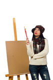Καλλιτέχνης γυναικών που απομονώνεται στο λευκό Στοκ εικόνες με δικαίωμα ελεύθερης χρήσης