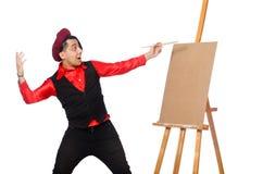 Καλλιτέχνης που απομονώνεται αστείος στο λευκό Στοκ Εικόνες