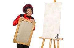 Καλλιτέχνης που απομονώνεται αστείος στο λευκό Στοκ Φωτογραφίες
