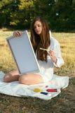 Καλλιτέχνης στην εργασία Στοκ Εικόνες