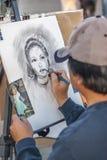 Καλλιτέχνης στην εργασία, Santa Monica Pier στοκ εικόνα
