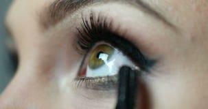 Καλλιτέχνης σύνθεσης που ισχύει eyelash makeup απόθεμα βίντεο