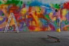 Καλλιτέχνης Graffitti στοκ εικόνα με δικαίωμα ελεύθερης χρήσης
