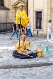 Καλλιτέχνης Mime σε Lvov, Ουκρανία Στοκ Φωτογραφίες