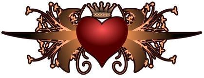 Καλλιτεχνική καρδιά floral fangtasy που απομονώνεται με διανυσματική απεικόνιση