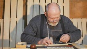 Καλλιτεχνική ξύλινη γλυπτική, κινηματογράφηση σε πρώτο πλάνο, εργαλείο/χαράζοντας εργαλείο κοντά επάνω, καλλιτεχνική ξύλινη γλυπτ απόθεμα βίντεο
