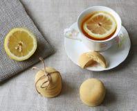 Καλλιτεχνική σύνθεση του τσαγιού με το λεμόνι στα άσπρα μπισκότα φλυτζανιών και λεμονιών πορσελάνης Στοκ Εικόνες