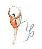Καλλιτεχνική gymnast απεικόνιση κατά τη διάρκεια μιας έκθεσης Στοκ Εικόνα