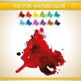 Καλλιτεχνικός παφλασμός Watercolor αίματος κόκκινος διανυσματικός Στοκ φωτογραφία με δικαίωμα ελεύθερης χρήσης
