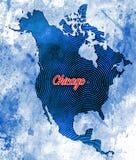 Καλλιτεχνικός χάρτης του Σικάγου, Ιλλινόις Στοκ Εικόνες
