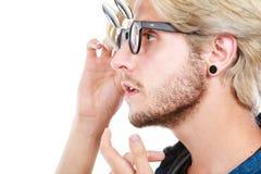 Καλλιτεχνικό άτομο Hipster με τα εκκεντρικά γυαλιά, πορτρέτο σχεδιαγράμματος Στοκ φωτογραφία με δικαίωμα ελεύθερης χρήσης