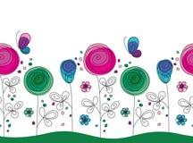 Καλλιτεχνικό ζωηρόχρωμο άνευ ραφής σχέδιο λουλουδιών Στοκ εικόνα με δικαίωμα ελεύθερης χρήσης