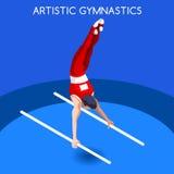 Καλλιτεχνικό σύνολο εικονιδίων θερινών αγώνων φραγμών γυμναστικής παράλληλο τρισδιάστατος Isometric διεθνής ανταγωνισμός πρωταθλή Στοκ φωτογραφία με δικαίωμα ελεύθερης χρήσης