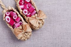 Καλοί κάλαμοι καραμελών καρδιών Στοκ Εικόνα
