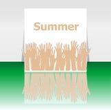 Καλοκαίρι λέξης και χέρια ανθρώπων, έννοια διακοπών, σχέδιο εικονιδίων Στοκ εικόνες με δικαίωμα ελεύθερης χρήσης