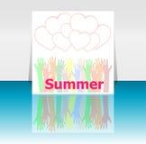 Καλοκαίρι λέξης και χέρια ανθρώπων, καρδιές αγάπης, έννοια διακοπών, σχέδιο εικονιδίων Στοκ εικόνες με δικαίωμα ελεύθερης χρήσης
