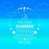 Καλοκαίρι, αφίσα άποψης παραλιών Διανυσματική ανασκόπηση διανυσματική απεικόνιση