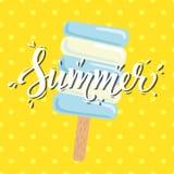 Καλοκαίρι αφισών με το παγωτό επίσης corel σύρετε το διάνυσμα απεικόνισης Στοκ Εικόνες
