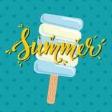 Καλοκαίρι αφισών με το παγωτό επίσης corel σύρετε το διάνυσμα απεικόνισης Στοκ φωτογραφία με δικαίωμα ελεύθερης χρήσης