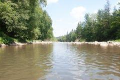 Καλοκαίρι, βουνά, ποταμός, το υπόλοιπο, φύση, τουρισμός, πέτρες, δέντρα, νερό, ο ουρανός Στοκ Εικόνες