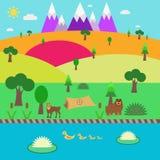 Καλοκαίρι-επίπεδο τοπίο φύσης Στοκ εικόνα με δικαίωμα ελεύθερης χρήσης