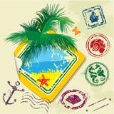 Καλοκαίρι και γραμματόσημα και αυτοκόλλητη ετικέττα ταξιδιού ελεύθερη απεικόνιση δικαιώματος