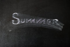 Καλοκαίρι κειμένων που γράφεται με την κιμωλία και που φοριέται Στοκ φωτογραφίες με δικαίωμα ελεύθερης χρήσης
