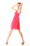 καλοκαίρι μόδας Αρκετά μοντέρνο κορίτσι στο κόκκινο φόρεμα Στοκ εικόνες με δικαίωμα ελεύθερης χρήσης