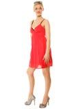 καλοκαίρι μόδας Αρκετά μοντέρνο κορίτσι στο κόκκινο φόρεμα Στοκ εικόνα με δικαίωμα ελεύθερης χρήσης
