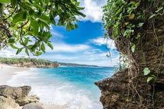 Καλοκαίρι παραλιών με τα σύννεφα, το μπλε ουρανό και το φοίνικα Ο όμορφος τροπικός παράδεισος για τις διακοπές και χαλαρώνει το δ Στοκ Φωτογραφία