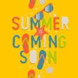 Καλοκαίρι που έρχεται σύντομα, δημιουργικό γραφικό υπόβαθρο διανυσματική απεικόνιση