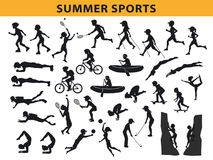 Καλοκαίρι, υπαίθρια συλλογή αθλητικών σκιαγραφιών διανυσματική απεικόνιση