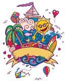 Καλοκαίρι Doodle ελεύθερη απεικόνιση δικαιώματος