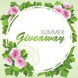 Καλοκαίρι giveaway, έμβλημα με τα λουλούδια και και πράσινα φύλλα Στοκ Φωτογραφίες