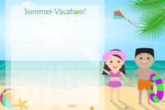 Καλοκαιρινές διακοπές, θερινές διακοπές για τα παιδιά Χαρούμενα παιδιά απεικόνιση αποθεμάτων