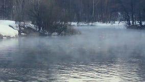 καλυμμένα όρη σπιτιών ελβετικά χειμερινά δάση χιονιού σκηνής μικρά Ομίχλη πέρα από το χειμερινό ποταμό Δασικός ποταμός το χειμώνα απόθεμα βίντεο