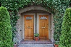 καλυμμένη άμπελος μπροστινή πόρτα Στοκ Εικόνες
