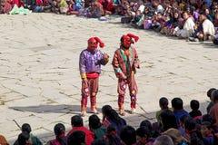 Καλυμμένοι κλόουν στο μοναστήρι Gangtey, Gangteng, Μπουτάν Στοκ φωτογραφίες με δικαίωμα ελεύθερης χρήσης
