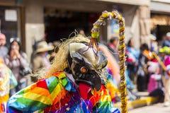 Καλυμμένοι χορευτές Virgen del Carmen Pisac Cuzco Περού Στοκ Φωτογραφίες