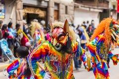 Καλυμμένοι χορευτές Virgen del Carmen Pisac Cuzco Περού Στοκ φωτογραφίες με δικαίωμα ελεύθερης χρήσης