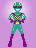 Καλυμμένος θέτοντας χαρακτήρας κινουμένων σχεδίων Superhero διανυσματική απεικόνιση