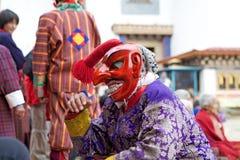 Καλυμμένος κλόουν στο μοναστήρι Gangtey, Gangteng, Μπουτάν Στοκ εικόνα με δικαίωμα ελεύθερης χρήσης