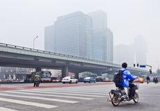 Καλυμμένο αιθαλομίχλη κέντρο πόλεων του Πεκίνου, Κίνα Στοκ φωτογραφίες με δικαίωμα ελεύθερης χρήσης