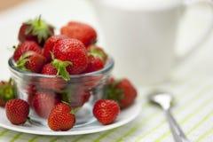 Καλυμμένο κύπελλο γυαλιού των juicy ώριμων strawberrys Στοκ Φωτογραφίες