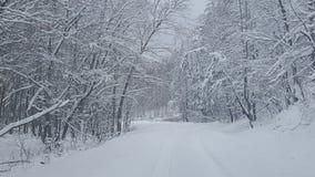 καλυμμένο οδικό χιόνι στοκ φωτογραφία